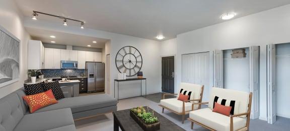 Borgata Apartment Homes Model Living Room and Kitchen