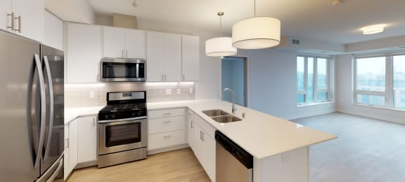 Model Kitchen in Chroma 2-Bedroom at Mezzo Apartments in Minneapolis