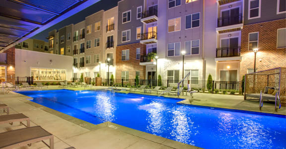 pool night view of the Venture Apartments iN Tech Center in Newport News VA