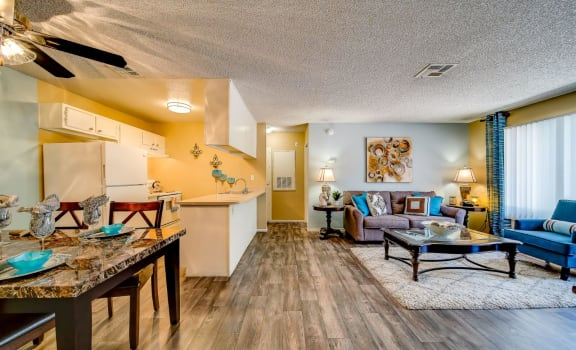 Living Room With Kitchen at Playa Vista Apartments, Pacifica SD Management, Las Vegas, 89110