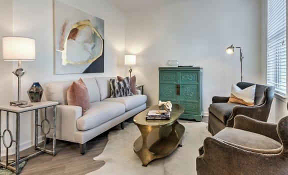 Trendy Living Room at Residence at Tailrace Marina, North Carolina, 28120