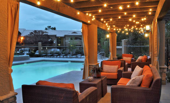 Beautiful Cabana Lighted at Night at Albuquerque Apartments for Rent