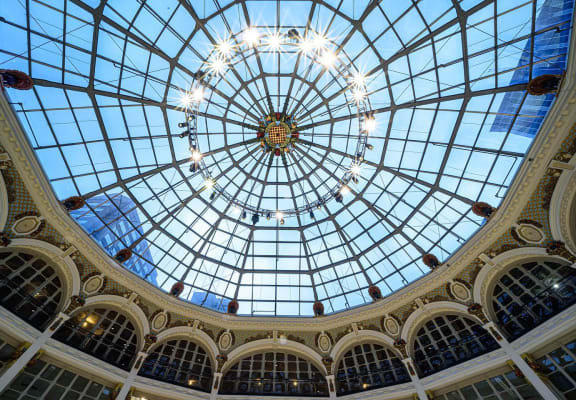 Rotunda interior looking up- The Arts Lofts at Dayton Arcade, Dayton, OH - Tom Gillium Photography