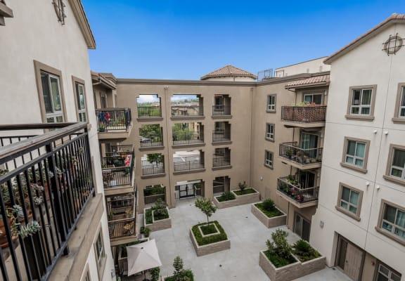 Aerial view of courtyard-Casa Salazar Apartments, Los Angeles CA