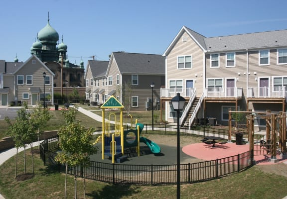Playground and Apartment building-Tremont Pointe Apartments, Cleveland, OH 44113