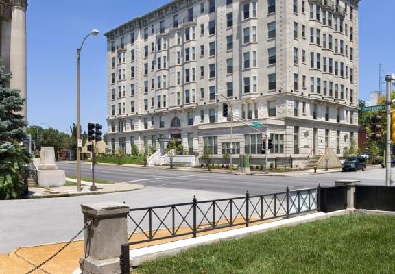 Street view across the street-Washington Apartments, St. Louis, MO