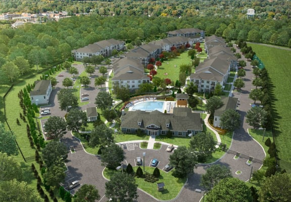 Aerial View Of The Community at The Crest Apartments at Flowery Branch, Flowery Branch, GA