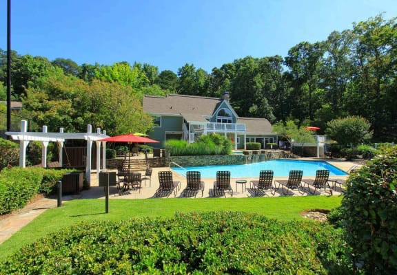 Aerial View Of Pool at The Berkshires at Vinings, Georgia