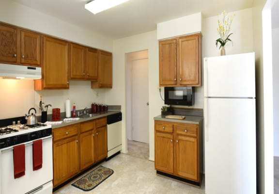 large kitchen with ample food storage space and eat in kitchen