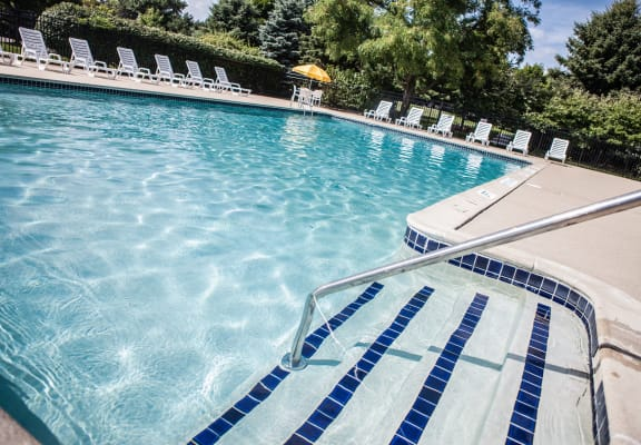 Heated Pool (open April through October) and large sundeck at Dover Hills Apartments in Kalamazoo