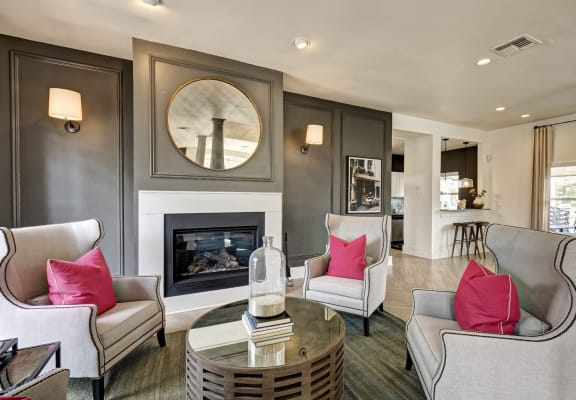 Lounge Area With Fireplace at Berkshire Stewards Crossing, Lawrenceville, NJ, 08648