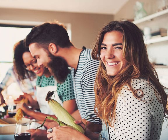 stock image- friends cooking