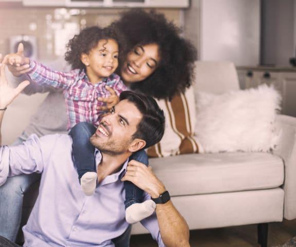 stock image- family in living room
