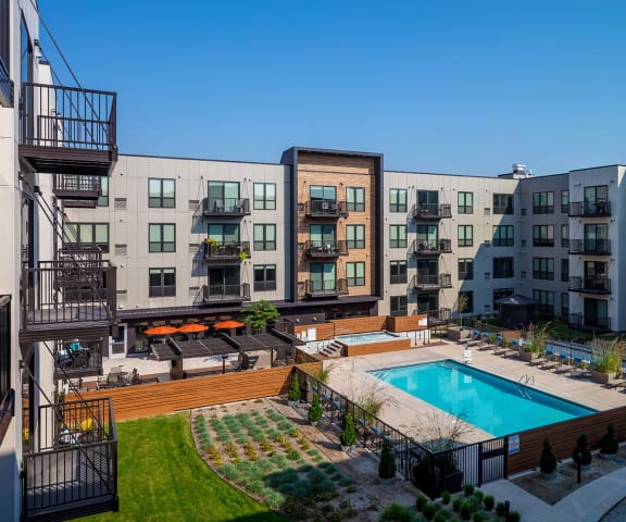 Outdoors Pool at Confluence on 3rd Apartments in Des Moines in Downtown Des Moines