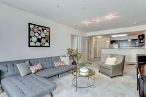 Living Room With Kitchen View at Garfield Park, Arlington, VA