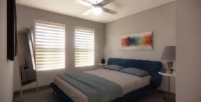 Interior rendering of newly renovated apartment, bedroom with large windows and new carpet