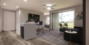 Interior rendering of newly renovated apartment, kitchen with white cabinets and wood flooring