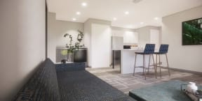Interior rendering of newly renovated apartment, living room area facing kitchen with white cabinets and wood flooring