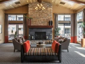 Resident lounge area and fireplace