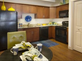 Model apartment home kitchen and dining room