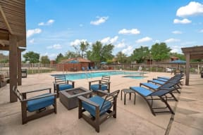 Pool and outdoor seating at Heritage Pointe, Gilbert, 85233