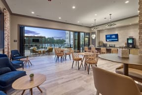 Indoor and Outdoor Resident Lounge and Coffee Bar