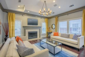 Fireplace In Living Room at Southpoint Crossing, Durham, 27713