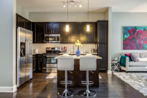 Fitted Kitchen With Island Dining at LaVie SouthPark, Charlotte, 28209