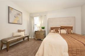 Bedroom with Plush Beige Carpet