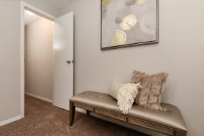 Sitting Bench in Bedroom with Plush Carpeting