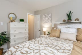 Bedroom with Plush Carpeting and Grey Beige Wall Colors