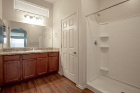 Bathroom shower at Casitas at San Marcos in Chandler AZ Nov 2020