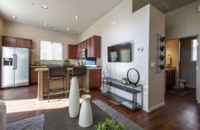 Living Room and Kitchen at Casitas at San Marcos in Chandler AZ Nov 2020