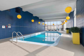 View of indoor pool with panoramic views