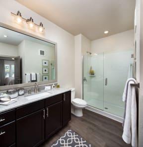 Frameless glass walk in showers