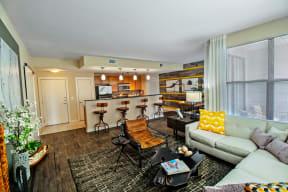 One bedroom model living room