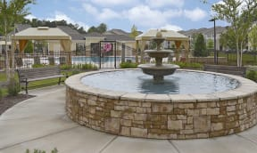 fountain by pool