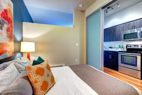 Bedroom at Canvas Apartments in Seattle
