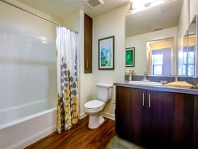 Apartments in Pomona CA - Expansive Bathroom with Sleek Finishes