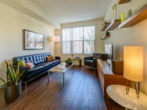 Apartments for Rent in Pomona CA - Open Space Living Room with Hardwood Floors and Stylish Interior