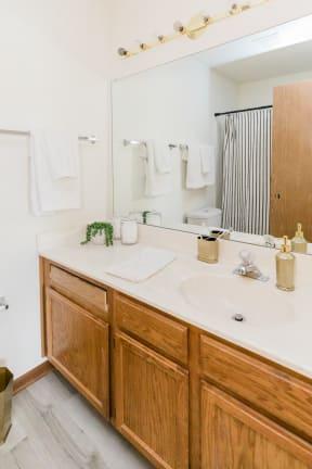 Renovated Bathrooms With Quartz Counters at Deer Run Apartments, Brown Deer, Wisconsin