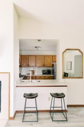 Gourmet Kitchen With Island at Deer Run Apartments, Brown Deer, WI, 53223