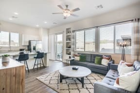 Living Room With Kitchen View at Avilla Gateway, Phoenix