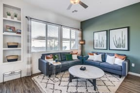 Living Room With Expansive Window at Avilla Gateway, Phoenix, Arizona