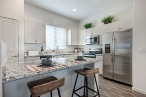 Fitted Kitchen With Island Dining at Avilla Lago, Peoria