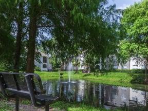 Granite at Porpoise Bay Apartments Daytona Beach pond fountain