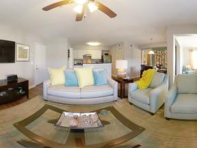 model unit living room overview