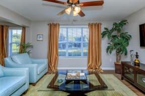 floorplan 1B model unit furnished living room window
