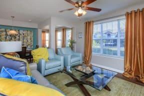 floorplan 1B model unit furnished living room