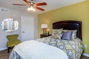 floorplan 1B model unit furnished bedroom